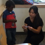 Our youngest student received some one on one time to warm up to the activity.